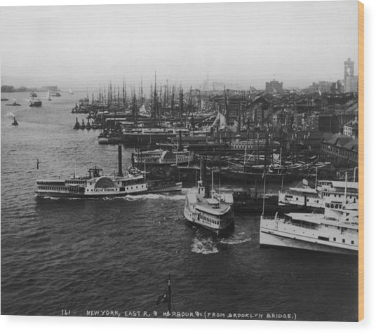 East River Harbour Wood Print by P. L. Sperr