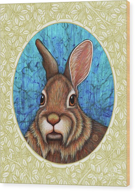 Eastern Cottontail Portrait - Cream Border Wood Print