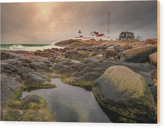 Eastern Point Lighthouse At Sunset Wood Print
