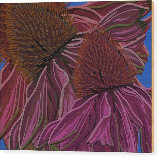 Echinacea Flower Blues Wood Print