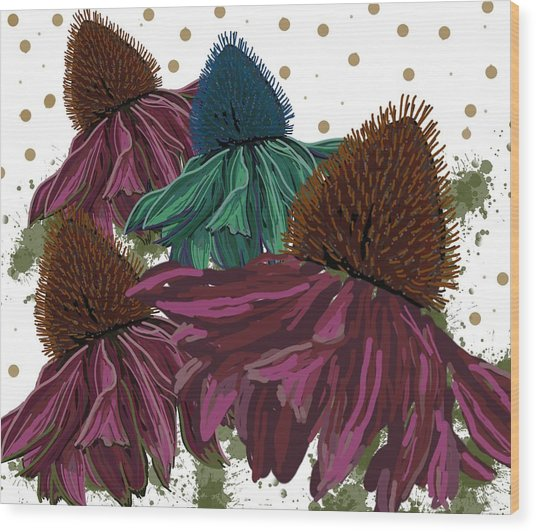 Echinacea Flower Skirts Wood Print