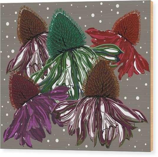 Wood Print featuring the digital art Echinacea Flowers Dance by Joan Stratton