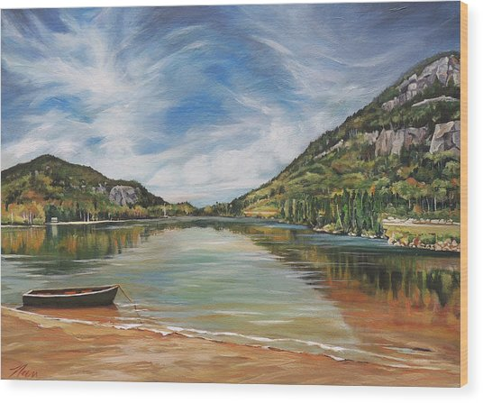 Echo Lake In Franconia Notch New Hampshire Wood Print