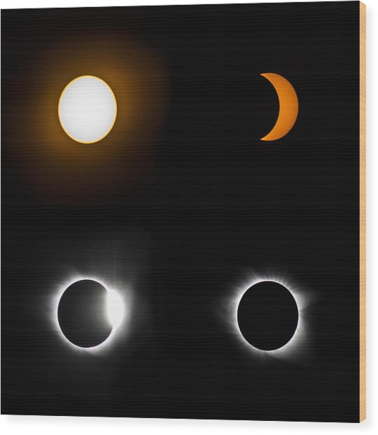 Eclipse Phases Wood Print by Christine Buckley