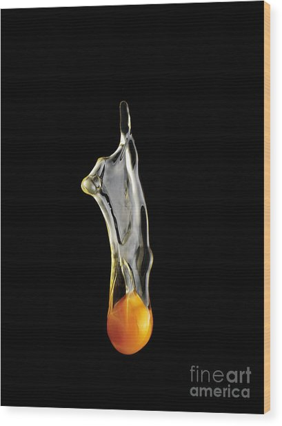 Egg Yolk Dripping, Falling, On Black Wood Print