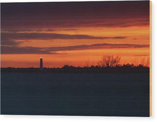 Egmont Key Lighthouse Sunset Wood Print