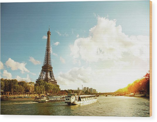 Eiffel Tower And The River Seine Wood Print by Vintagerobot