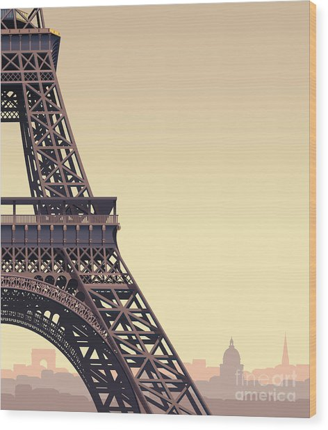 Eiffel Tower At Sunset Wood Print