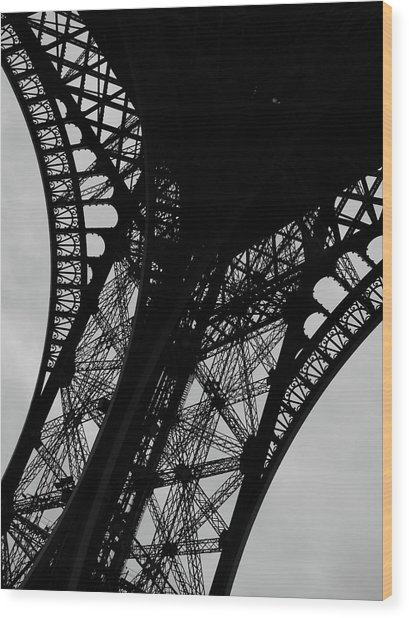 Wood Print featuring the photograph Eiffel Tower, Base by Edward Lee