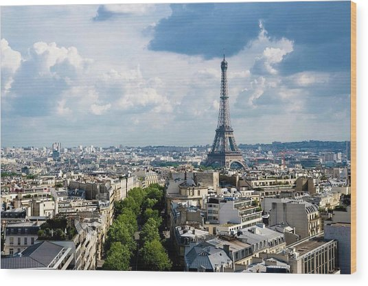 Eiffel Tower View From Arc De Triomphe Wood Print by Keith Sherwood