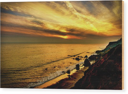 El Matador Beach Sunset Wood Print