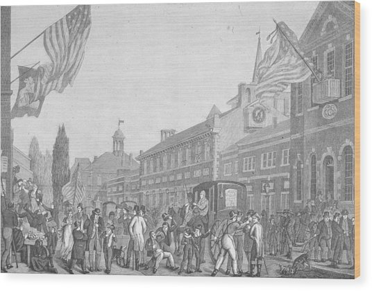 Election In Front Of State House, Pa Wood Print by Kean Collection