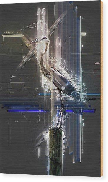 Electric Heron Wood Print