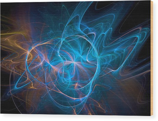 Electric Universe Blue Wood Print