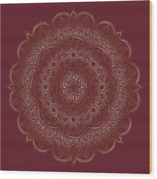 Wood Print featuring the painting Elegant Golden Mandala Buddhist Symbol by Georgeta Blanaru