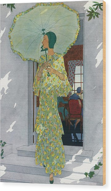 Elegant Woman With A Parasol Wood Print by Graphicaartis