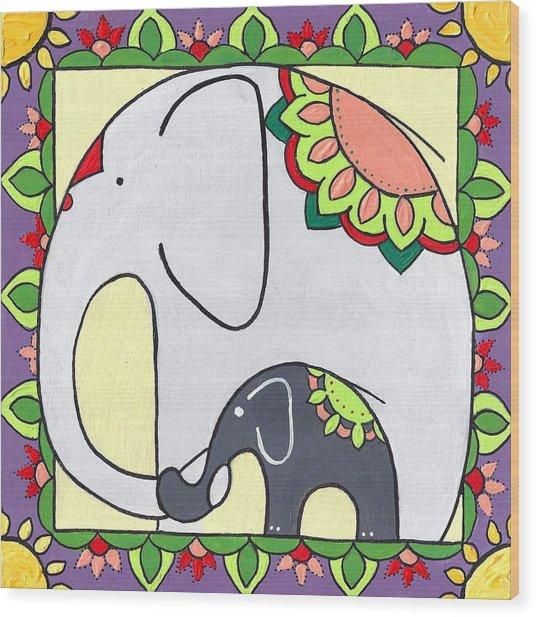 Elephant And Child 6 Wood Print