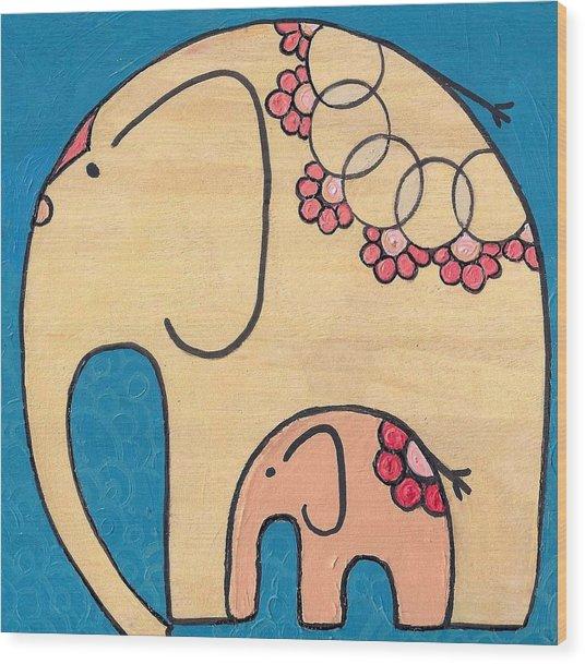 Elephant And Child On Blue Wood Print