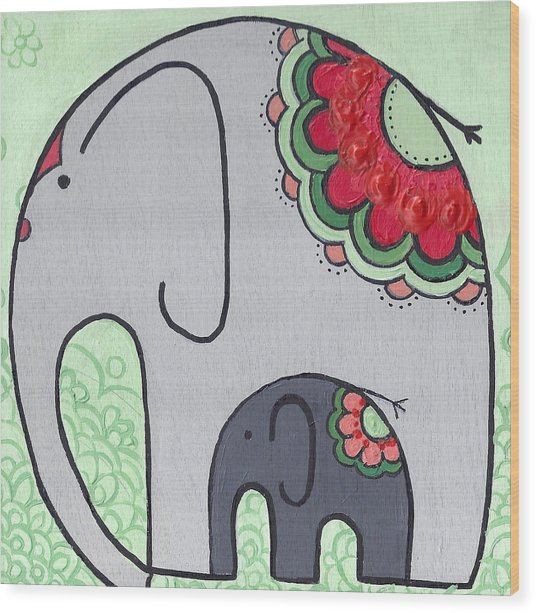 Elephant And Child On Green Wood Print