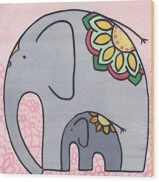 Elephant And Child On Pink Wood Print
