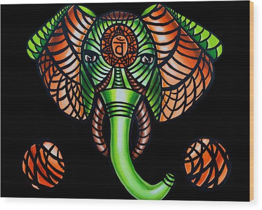 Elephant Head Painting, Sacral Chakra Art, African Tribal Animal Artwork, Zentangle Art Wood Print