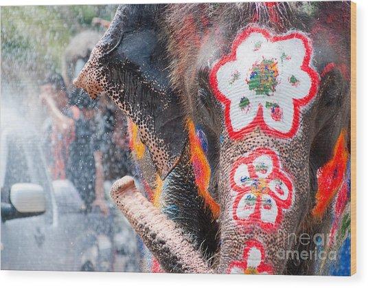 Elephant Splashing Water During Wood Print