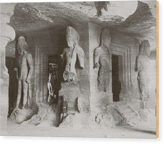 Elephanta Caves Wood Print by Hulton Archive