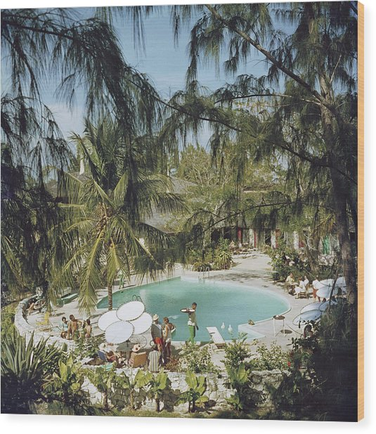 Eleuthera Pool Party Wood Print by Slim Aarons