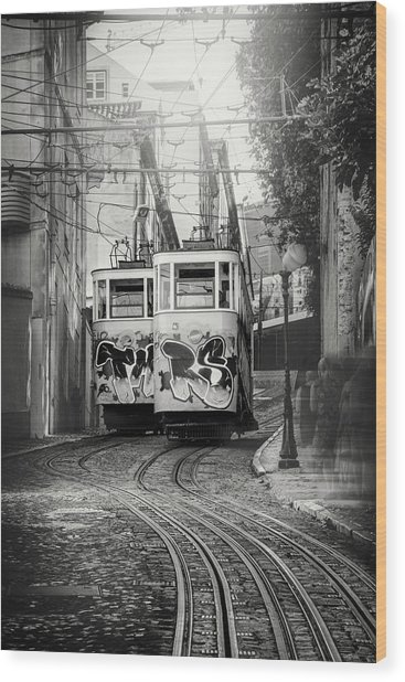 Elevador Da Gloria Lisbon Portugal Black And White Wood Print