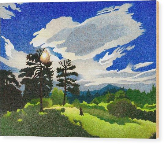 Wood Print featuring the drawing Elk Ridge Twilight by Dan Miller