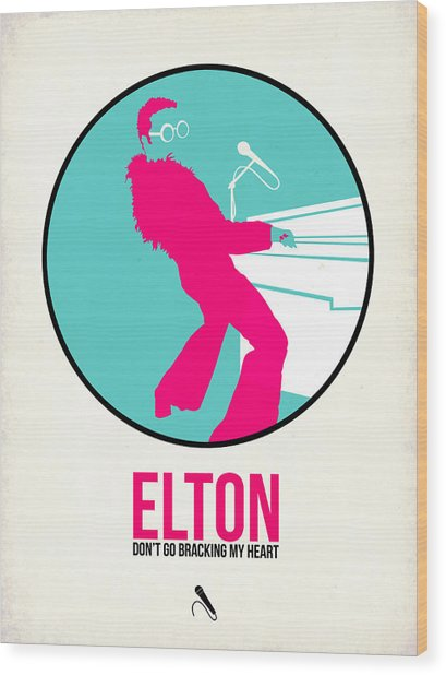 Elton Poster  Wood Print