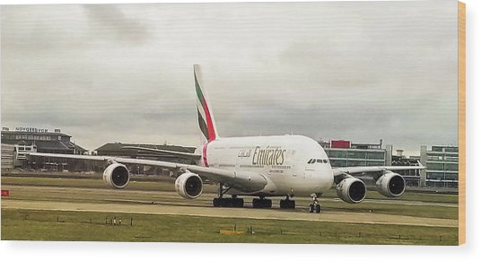 Emirates Airbus A380-800 At London Heathrow Airport Wood Print