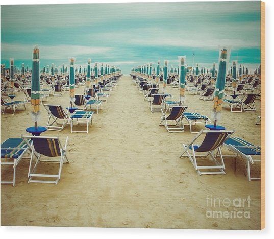 Empty Beach Scenery With Deckchairs And Wood Print by Anastazzo