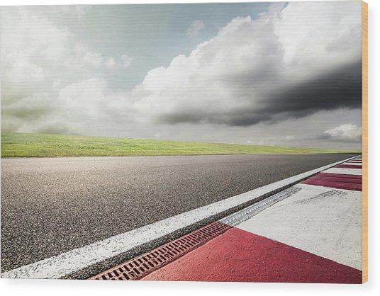 Empty Motor Racing Track Wood Print by Yubo