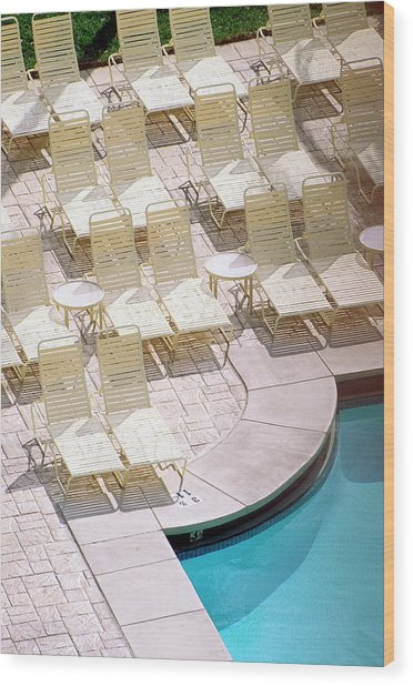 Empty Poolside Chairs At A Holiday Wood Print by Wesley Hitt