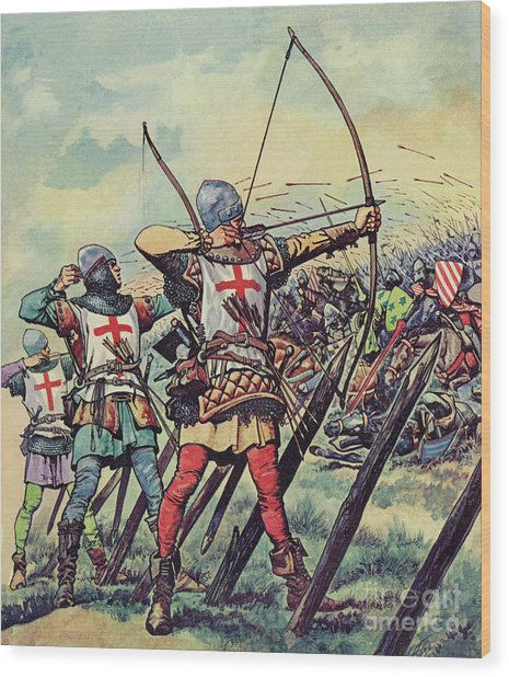 English Bowmen At The Battle Of Crecy Wood Print
