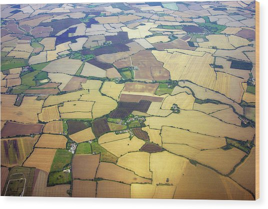 English Countryside Aerial View Wood Print by Rosmarie Wirz