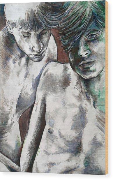 Entanged Boys Wood Print