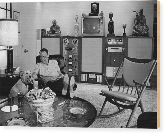 Entertainer Frank Sinatra Relaxing W Wood Print by John Dominis
