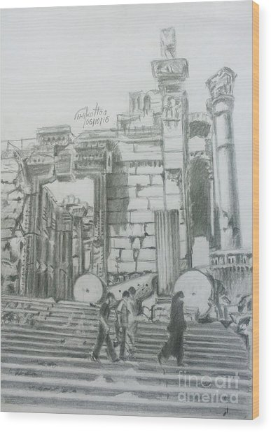Entrance Into The Bacchus Temple- Baalbek Wood Print