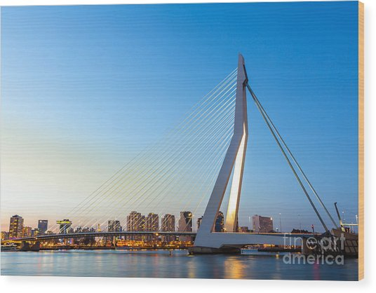 Erasmus Bridge Over The River Meuse In Wood Print