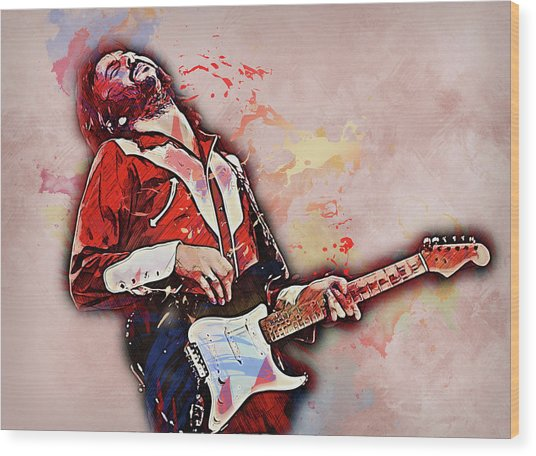 Eric Clapton - 14 Wood Print by Andrea Mazzocchetti