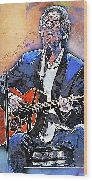 Eric Clapton - 15 Wood Print by Andrea Mazzocchetti