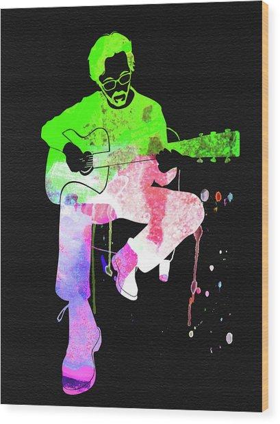 Eric Clapton Stone Watercolor Wood Print