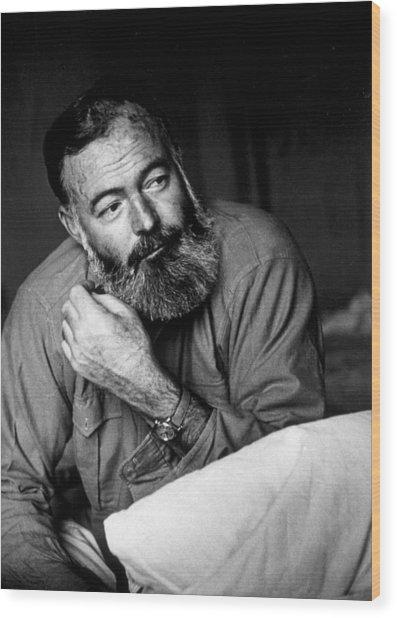 Ernest Hemingway Wood Print by Kurt Hutton