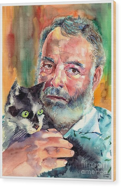Ernest Hemingway Portrait Wood Print