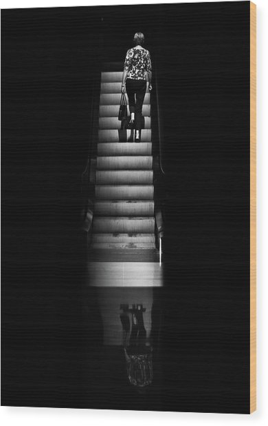 Wood Print featuring the photograph Escalator No 2 by Brian Carson