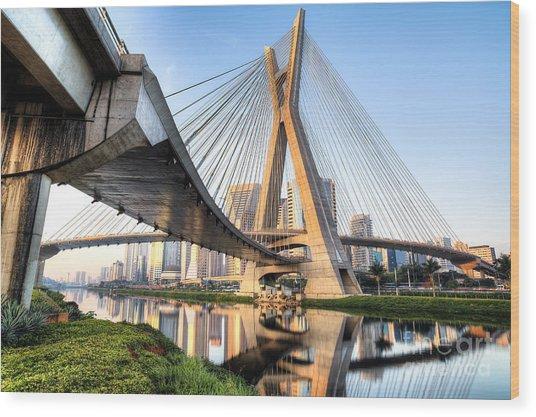 Estaiada Bridge, Sao Paulo, Brazil Wood Print