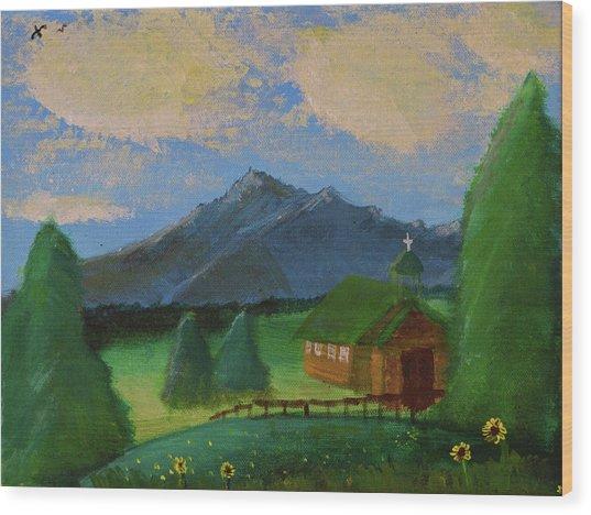 Esterbrook Chapel, Wyoming Wood Print