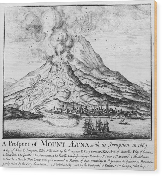 Etna Erupts Wood Print by Hulton Archive